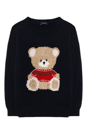 Детский шерстяной пуловер IL GUFO синего цвета, арт. A20MA334EM220/2A-4A | Фото 1