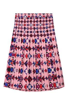 Детская плиссированная юбка EMILIO PUCCI розового цвета, арт. 9N7025/ND780/10-14 | Фото 1