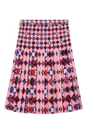 Детская плиссированная юбка EMILIO PUCCI розового цвета, арт. 9N7025/ND780/10-14 | Фото 2