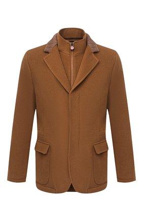 Мужская кашемировая куртка KITON коричневого цвета, арт. UW0770V03T74 | Фото 1 (Материал внешний: Шерсть; Материал подклада: Купро; Рукава: Длинные; Мужское Кросс-КТ: Верхняя одежда, шерсть и кашемир; Стили: Кэжуэл; Кросс-КТ: Куртка)