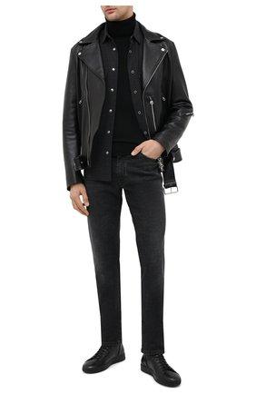 Мужская хлопковая рубашка BOSS темно-серого цвета, арт. 50438761 | Фото 2