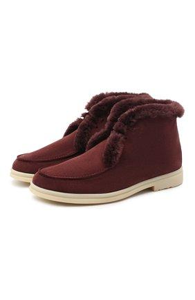 Мужские замшевые ботинки walk and walk LORO PIANA бордового цвета, арт. FAE5014 | Фото 1