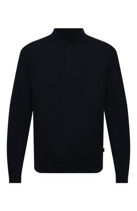 Мужской джемпер из хлопка и шерсти BOSS темно-синего цвета, арт. 50435276 | Фото 1