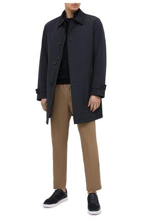 Мужской джемпер из хлопка и шерсти BOSS темно-синего цвета, арт. 50435276 | Фото 2