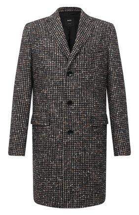 Мужской шерстное пальто BOSS темно-коричневого цвета, арт. 50438728   Фото 1