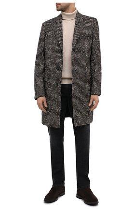 Мужской шерстное пальто BOSS темно-коричневого цвета, арт. 50438728   Фото 2