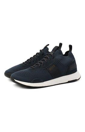 Мужские текстильные кроссовки BOSS синего цвета, арт. 50414734 | Фото 1