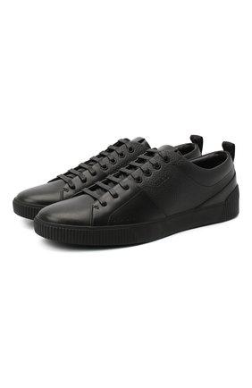 Мужские кожаные кеды HUGO черного цвета, арт. 50440323   Фото 1
