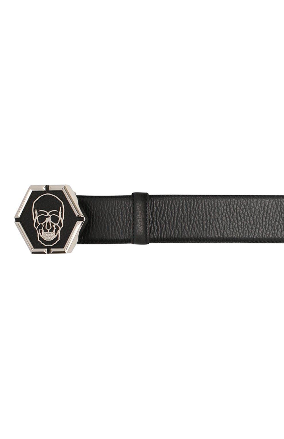 Мужской кожаный ремень PHILIPP PLEIN черного цвета, арт. A20A MVA0611 PLE002N | Фото 3