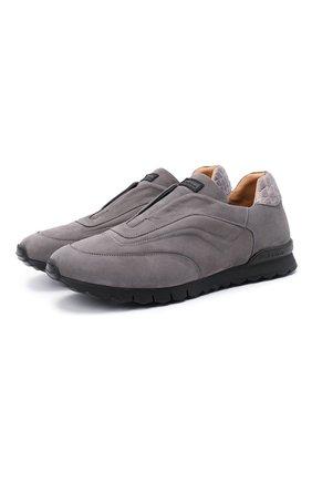 Мужские кроссовки с отделкой из кожи крокодила KITON серого цвета, арт. USSFREEN00682/CNIL | Фото 1 (Подошва: Массивная; Материал внутренний: Натуральная кожа; Стили: Классический)