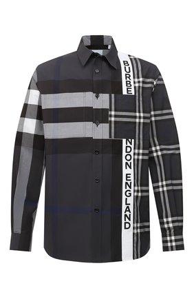 Мужская хлопковая рубашка BURBERRY темно-серого цвета, арт. 8033933 | Фото 1