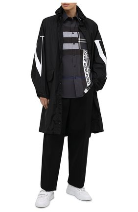 Мужская хлопковая рубашка BURBERRY темно-серого цвета, арт. 8033933 | Фото 2