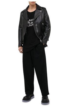 Мужская хлопковый лонгслив YOHJI YAMAMOTO черного цвета, арт. HR-T23-075 | Фото 2 (Рукава: Длинные; Материал внешний: Хлопок)