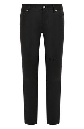 Мужские кожаные брюки RTA черного цвета, арт. MF0LE-1BKSU   Фото 1