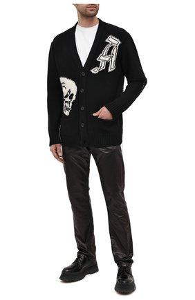 Мужская шерстяной кардиган ALEXANDER MCQUEEN черно-белого цвета, арт. 626446/Q1APA   Фото 2