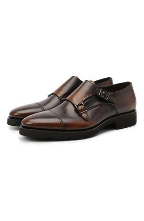 Мужские кожаные монки SANTONI темно-коричневого цвета, арт. MCBN17125PW5HSYCT60 | Фото 1
