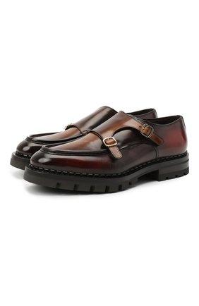 Мужские кожаные монки SANTONI коричневого цвета, арт. MCC016201ML6HNGCT30 | Фото 1