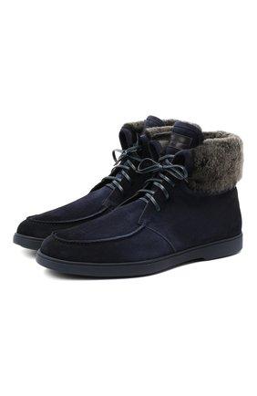 Мужские замшевые ботинки SANTONI темно-синего цвета, арт. MGYA13601ABIAPMSU60 | Фото 1