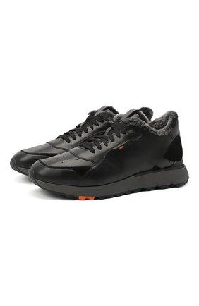 Мужские кожаные кроссовки SANTONI черного цвета, арт. MBCR21409ANAPWYAN01 | Фото 1
