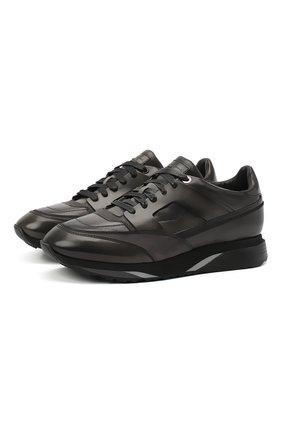 Мужские кожаные кроссовки SANTONI темно-серого цвета, арт. MBEN21167NGGRG0DG62 | Фото 1