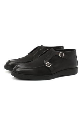 Мужские кожаные ботинки SANTONI черного цвета, арт. MGDT17104NERACUXN51 | Фото 1