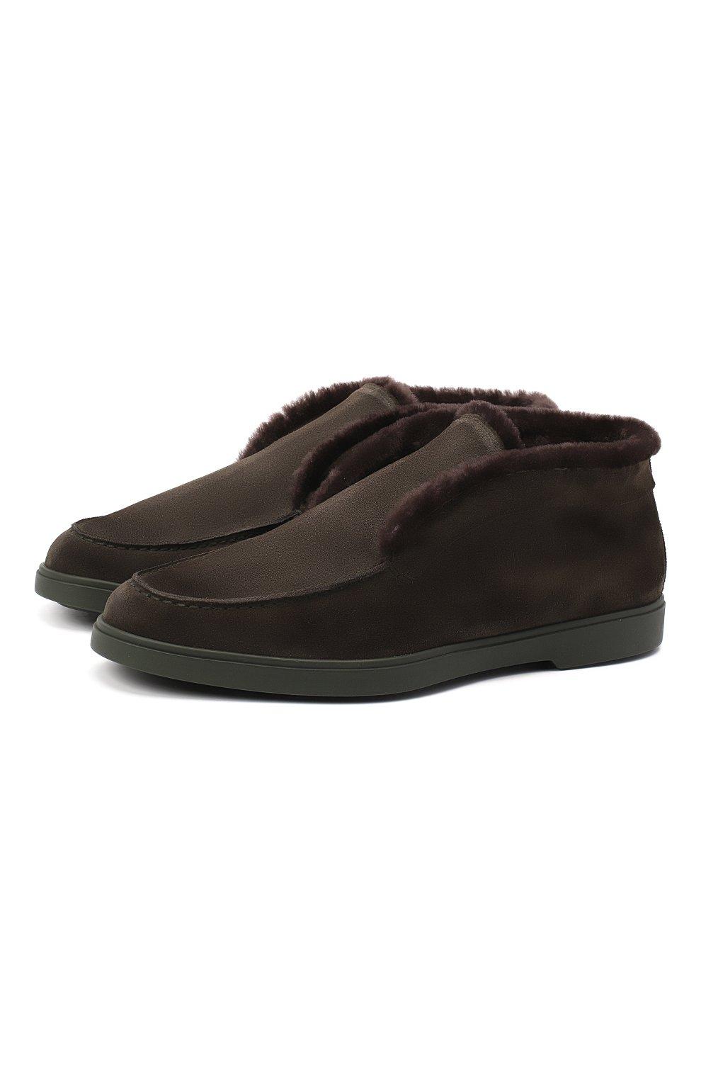 Мужские замшевые ботинки SANTONI темно-зеленого цвета, арт. MGYA16837L0DAPFCV74   Фото 1