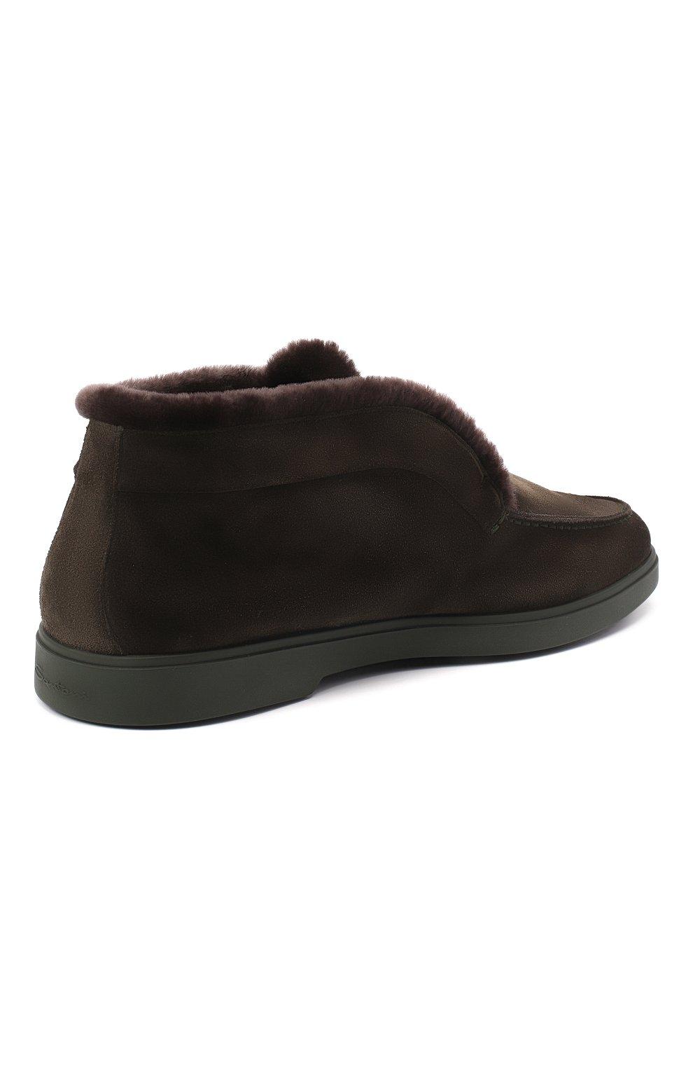 Мужские замшевые ботинки SANTONI темно-зеленого цвета, арт. MGYA16837L0DAPFCV74   Фото 4