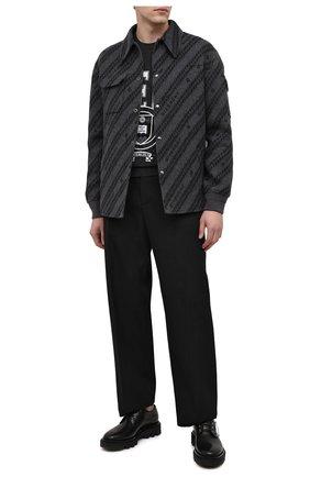 Мужской кожаные дерби GIVENCHY черного цвета, арт. BH102UH0KF | Фото 2