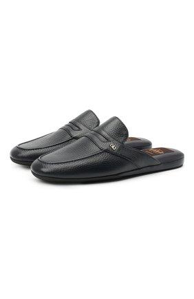 Мужского кожаные домашние туфли ALDO BRUE темно-синего цвета, арт. PCU127K-CM   Фото 1