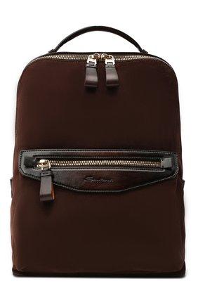 Мужской замшевый рюкзак SANTONI темно-коричневого цвета, арт. UIBBA2007LI-H2RUT50 | Фото 1