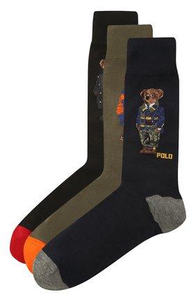 Мужские комплект их трех пар носков POLO RALPH LAUREN разноцветного цвета, арт. 449824757 | Фото 1