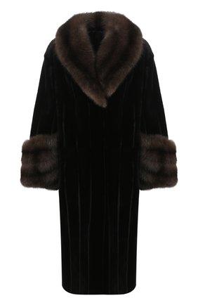 Женская шуба из меха норки и соболя KUSSENKOVV черного цвета, арт. 701513549447 | Фото 1