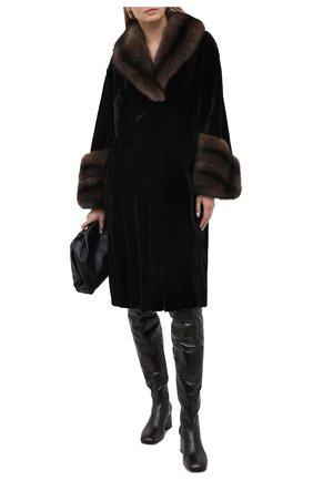 Женская шуба из меха норки и соболя KUSSENKOVV черного цвета, арт. 701513549447 | Фото 2