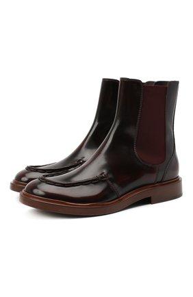 Женские кожаные ботинки TOD'S бордового цвета, арт. XXW93C0DV00ESH   Фото 1