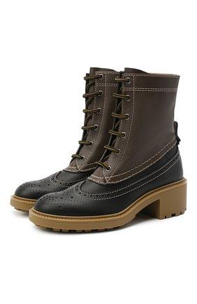 Женские кожаные ботинки franne CHLOÉ коричневого цвета, арт. CHC20W38136   Фото 1