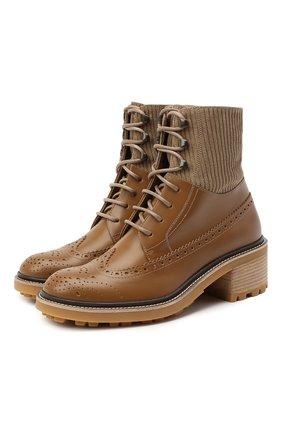 Женские кожаные ботинки CHLOÉ коричневого цвета, арт. CHC20W379P3 | Фото 1