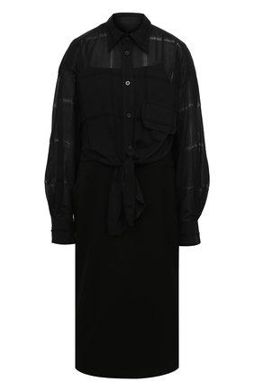 Женское шерстяное платье Y`S черного цвета, арт. YB-D41-032 | Фото 1