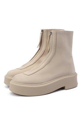 Женские кожаные ботинки zipped boot i THE ROW бежевого цвета, арт. F1144-L131R | Фото 1