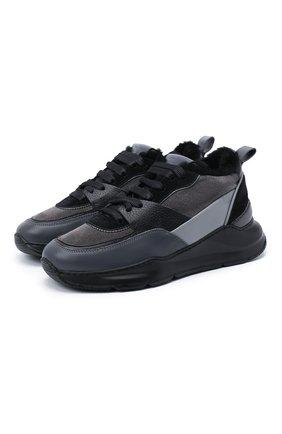 Женские кожаные кроссовки SANTONI черного цвета, арт. WBKI60613NEGPLRAN55 | Фото 1