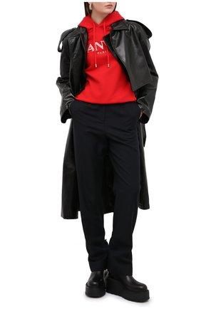 Женская хлопковое худи LANVIN красного цвета, арт. RW-T0698J-JR32-H20 | Фото 2