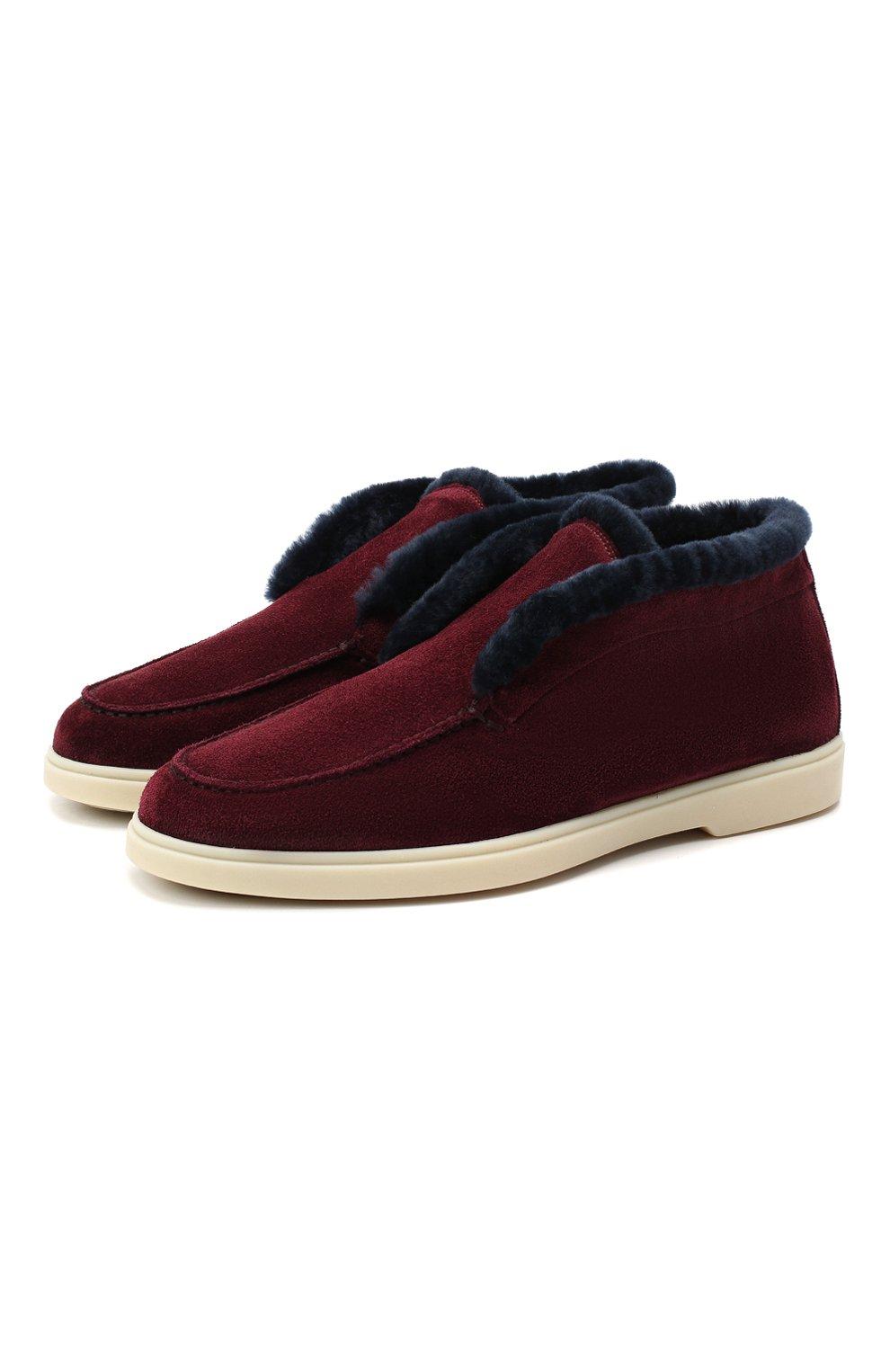 Женские замшевые ботинки SANTONI бордового цвета, арт. WUYA58457TISAPFCB90 | Фото 1