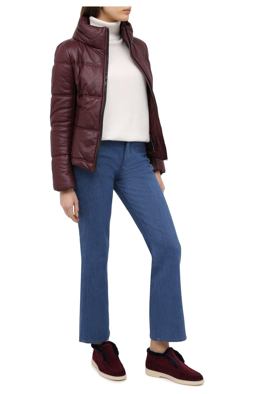 Женские замшевые ботинки SANTONI бордового цвета, арт. WUYA58457TISAPFCB90 | Фото 2