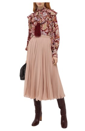 Женская шелковая юбка VALENTINO бежевого цвета, арт. UB0RA6U02UP | Фото 2