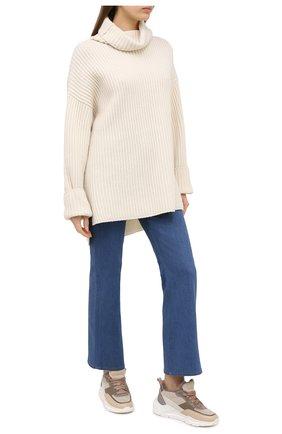 Женские кожаные кроссовки SANTONI бежевого цвета, арт. WBKI60613AGGPLRAE60 | Фото 2