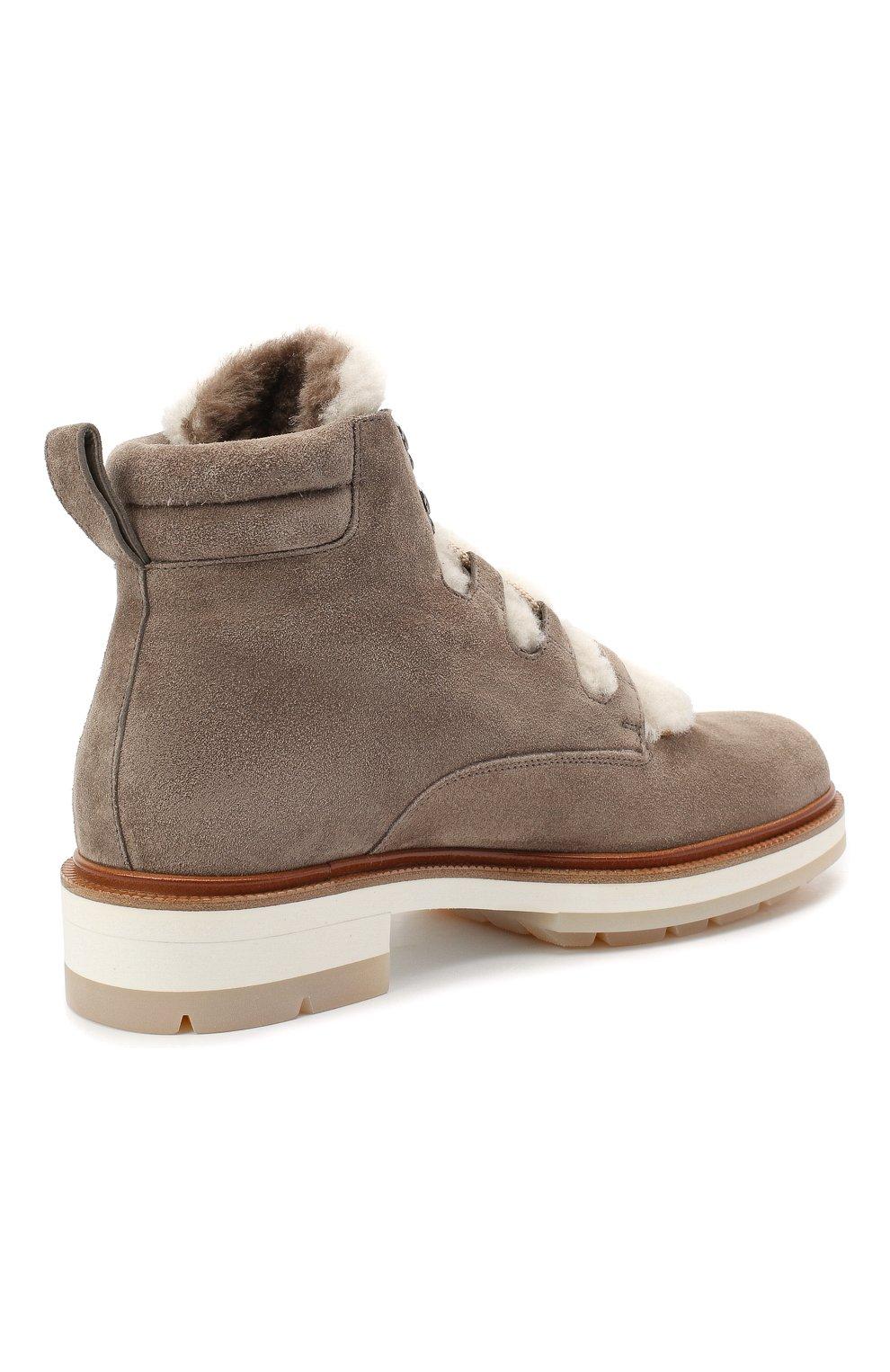 Женские замшевые ботинки SANTONI серого цвета, арт. WTSL58814R0CAYPBM40 | Фото 4