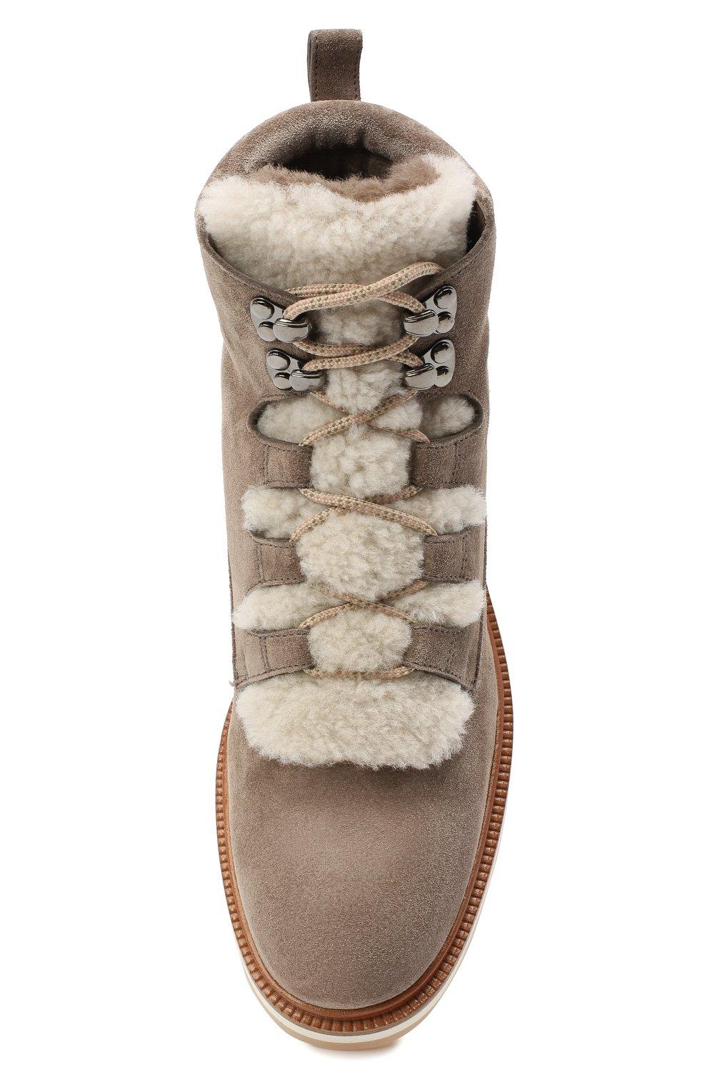 Женские замшевые ботинки SANTONI серого цвета, арт. WTSL58814R0CAYPBM40 | Фото 5