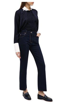 Женские кожаные лоферы SANTONI темно-синего цвета, арт. WUQU58984BA1NFHSU85 | Фото 2
