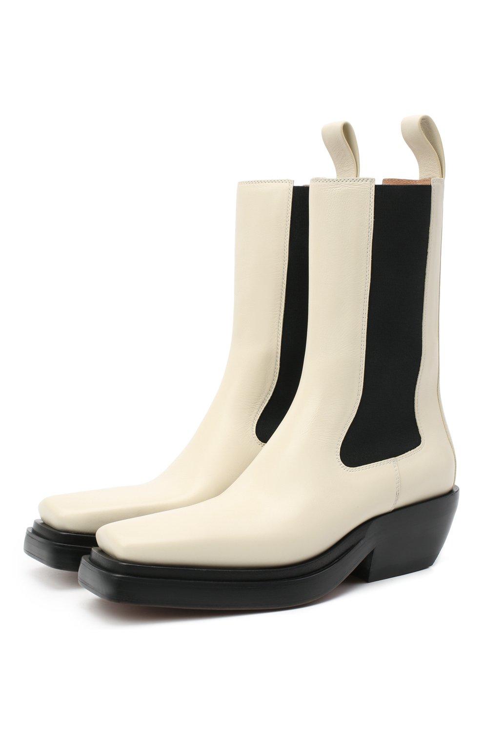 Женские кожаные ботинки bv lean  BOTTEGA VENETA кремвого цвета, арт. 639831/V00M0   Фото 1
