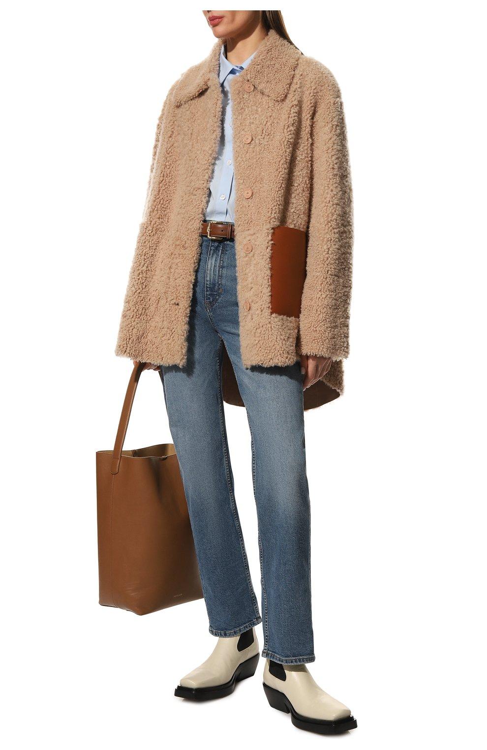 Женские кожаные ботинки bv lean  BOTTEGA VENETA кремвого цвета, арт. 639831/V00M0   Фото 2