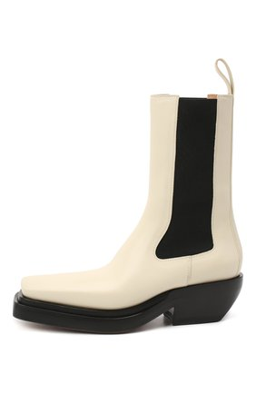 Женские кожаные ботинки bv lean  BOTTEGA VENETA кремвого цвета, арт. 639831/V00M0   Фото 3